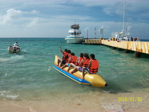 photo of our team members taking a group float ride in galveston