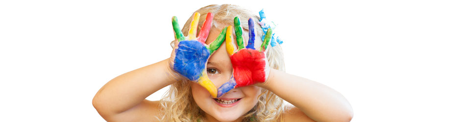 photo of a girl, smiling, hiding her face with hands painted all different colors